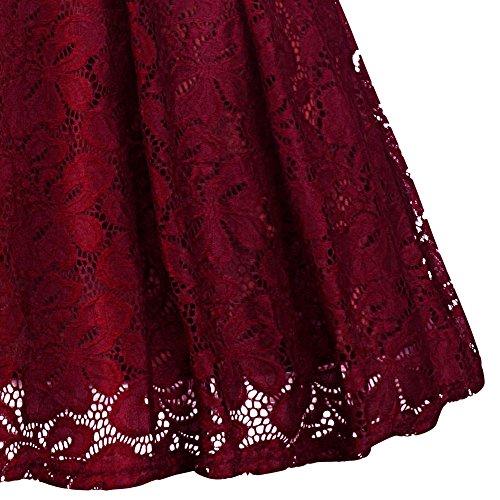 Robes De Dentelle Florale Vintage Femmes Bflive Manches Col Bateau Moitié Soirée Courte Swing Robe Du Vin Rouge