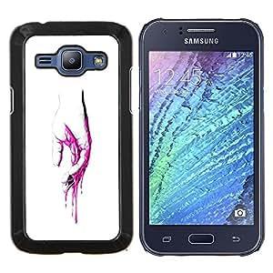 Caucho caso de Shell duro de la cubierta de accesorios de protección BY RAYDREAMMM - Samsung Galaxy J1 J100 - Rosa Mano Sangre - Pop Art