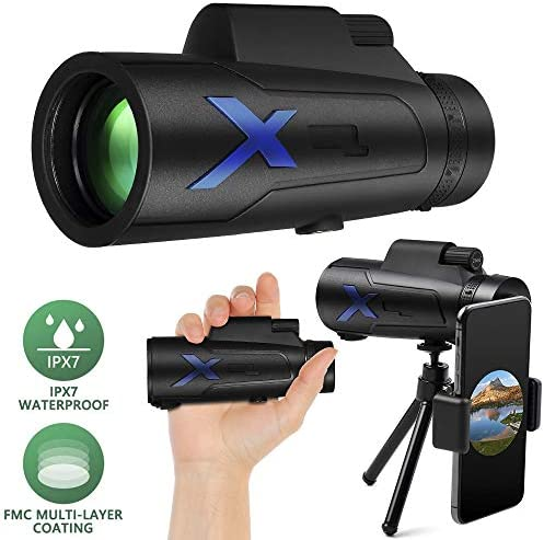 Monocular Telescope 12x50 High Power IPX7 Waterproof FMC BAK4 Prism with Tripod&Smartphone Adapter for Wildlife Bird Watching Hunting Camping Travelling Wildlife Secenery