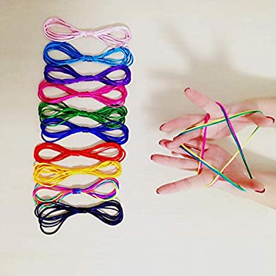 weemoment 78 Inch Long, 10 Pieces Rainbow Coloured Thread Toy Rope Finger Rope Puzzle Creates Various Figures Cats Cradle String Finger Game(10 Colors) Impart: Home & Kitchen
