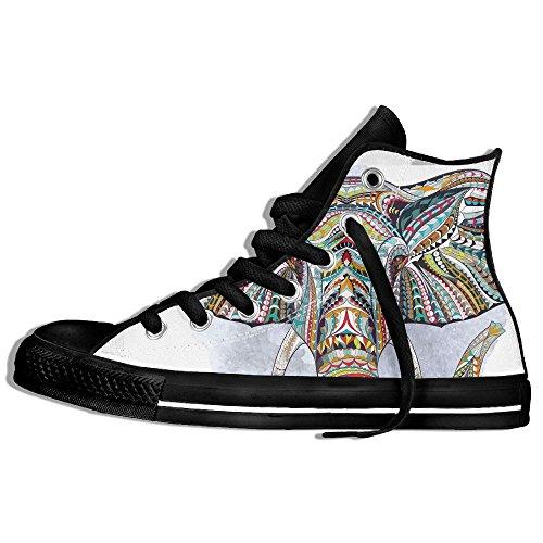 Baskets Montantes Classiques Toile Chaussures Antidérapantes Éléphants Tête Art Décontracté Marche Pour Hommes Femmes Noir