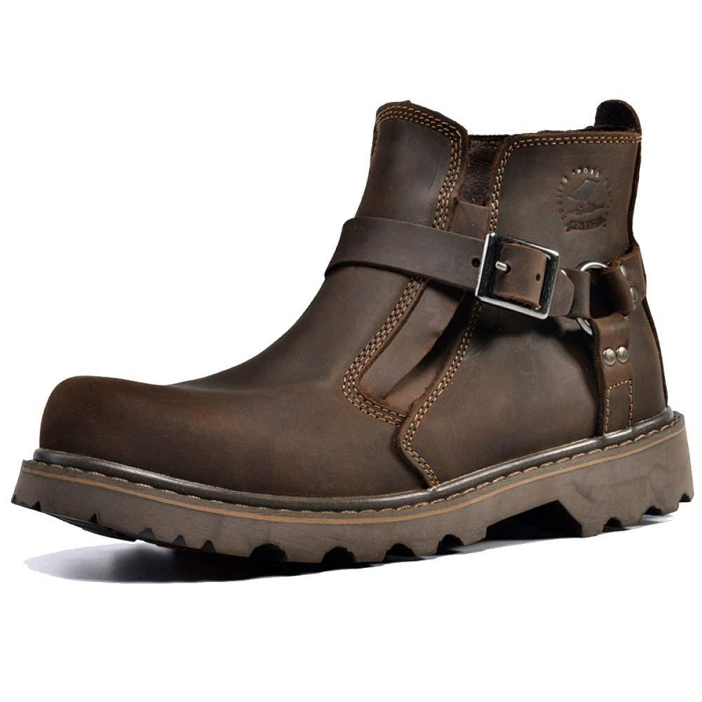 WANG-LONG Schuhe Herren Stiefel Martin Outdoor Retro Wandern Werkzeug Leder Herbst Und Winter Rutschfeste Mode,Dark-braun-41