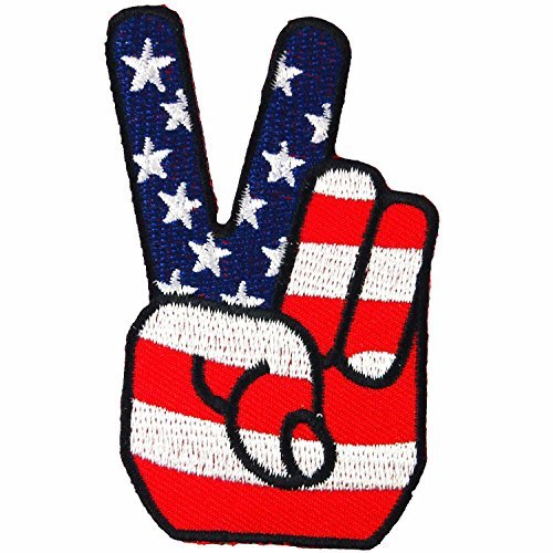 USA Peace Fingers Victory Sign American Flag Embroidered Iron on Patch #F