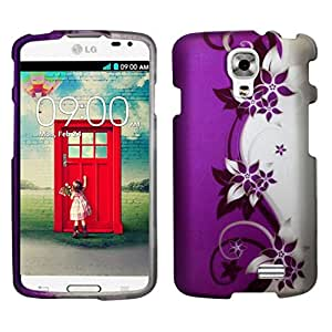 Zizo LG Access LTE L31/LG F70 Rubberized Design Hard Snap-On Cover - Retail Packaging - Purple/Silver Vines