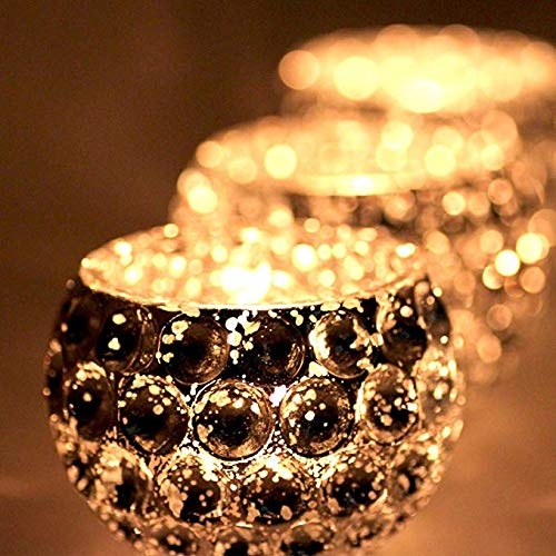 (VOSOIL Votive Candle Holders 2.64 Inches Speckled Glass for Use with Tealights Parties Weddings Spa Aromatherapy and Home Decor (Set of 6 Silver))