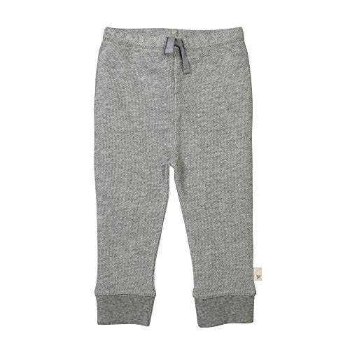 Burt's Bees Baby Baby Sweatpants, Knit Jogger Pants, 100% Organic Cotton, Heather Grey Loose Pique, 6-9 Months