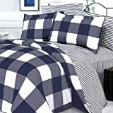 Blancho Bedding - [Navy & White] 100% Cotton 4PC Comforter Cover/Duvet Cover Combo (King Size)