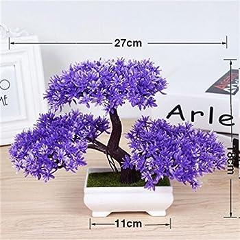 1Pcs Artificial Bonsai Tree Welcoming Plant Potted Bonsai Fake Mini Flower Green Plant Pine Pot Vase Wedding Home Decoration