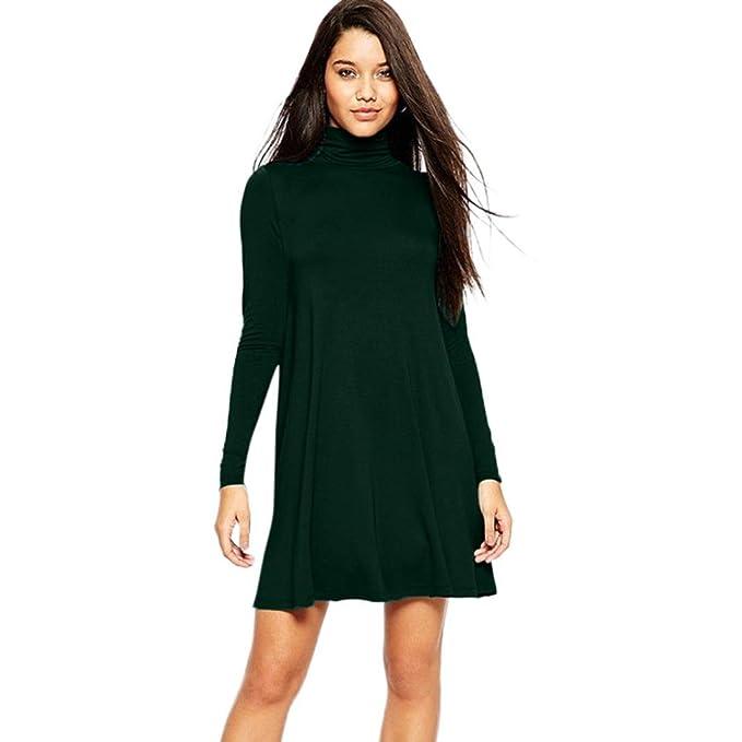 Twinsmall Women s Ladies Turtleneck Polo Roll Neck Long Sleeve Swing Skater  Dress (Green f4e6bd8dd