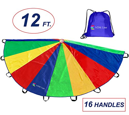 - Parachute 12 Foot with Smudge Resistant-Handles, Proper Selection of Matching Colors On The Basis of Experimental Color Testing, with High-Grade Stitching (Red, Blue, Yellow, Green, 12 ft. 16 handles)