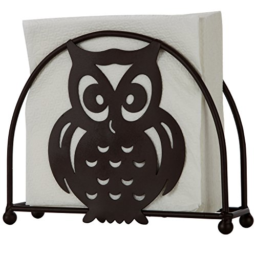 Home-X - Bronze Napkin Holder with Owl Design, A Fun Additio