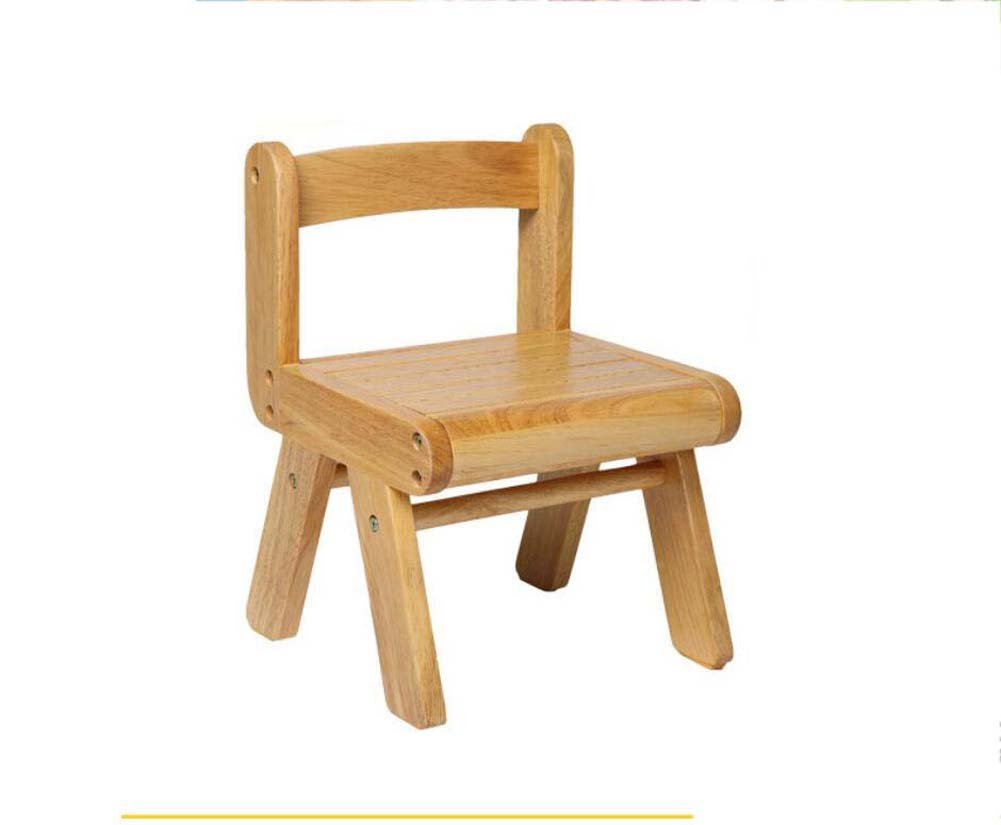 TTrar Portable Folding Chair Children's Backrest Chair Small Bench Study Chair, Solid Wood Baby Chair, Dining Chair Convenient and Practical