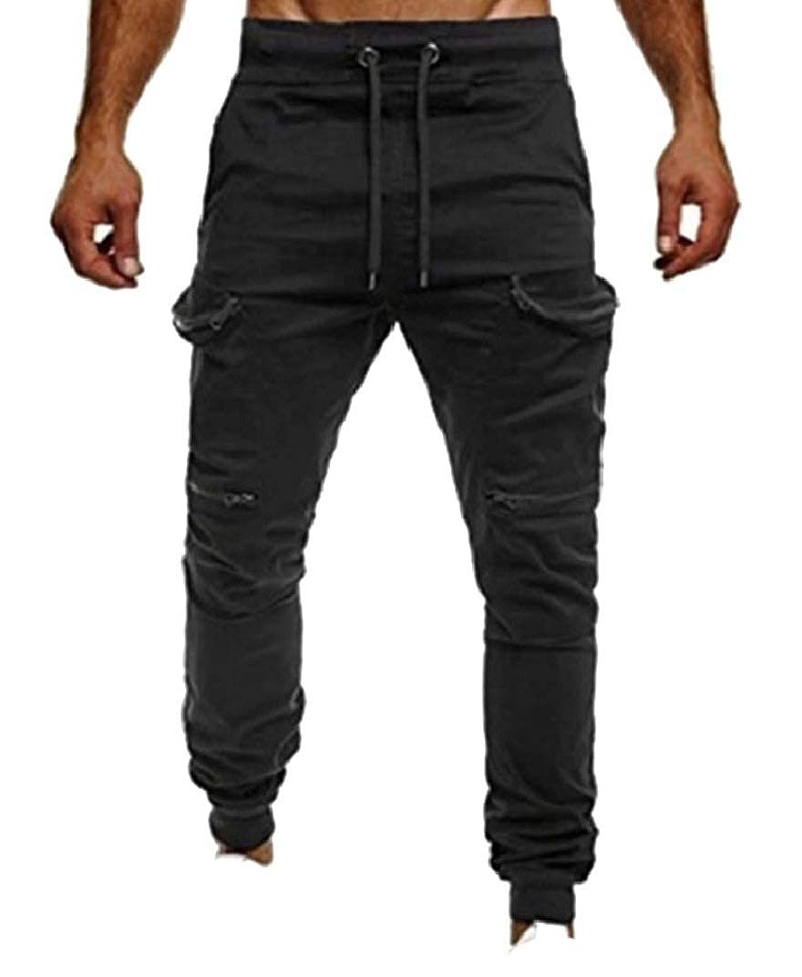 Spodat Mens Solid-Colored Casual Multi-Pockets Patched Athletic Sport Pants