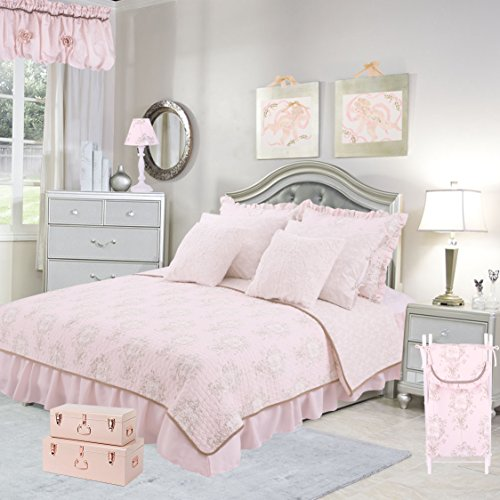Cotton Tale Designs 100% Cotton Soft Pink, Cream, Tan, Floral Angel Toile Lollipops & Roses 5 Piece Twin Reversible Quilt Bedding Set