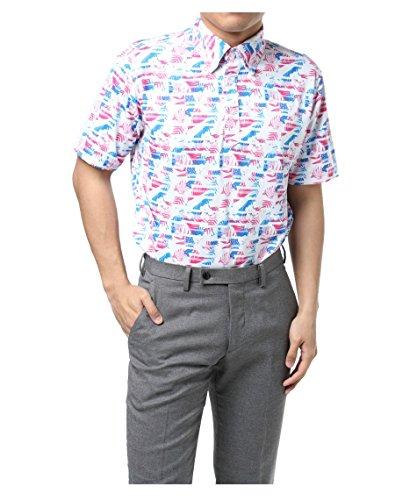 ツアーディビジョン メンズ ゴルフウェア ポロシャツ 半袖 リゾートプリント半袖Tシャツ TD220101H06 BL/PI M