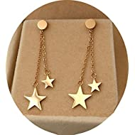 Titanium Steel Rose Gold Plated Shining Lucky Star Tassel Tiny Dot Ear Stud Dangle Earrings
