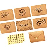 36 Pack Brown Kraft Paper Thank You Cards Thank U Greeting Card W/ 36 Kraft Paper Envelopes and 36 Pcs Envelope Thank You Stickers for Wedding, Graduation, Baby Shower, 3 x 4 Inches
