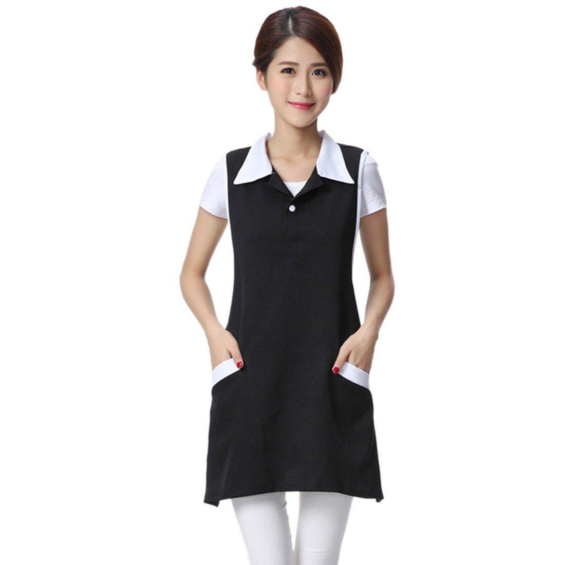 Jiyaru Women Sleeveless Workwear Lady Working Apron Dress Waiter Hotel Uniform Black