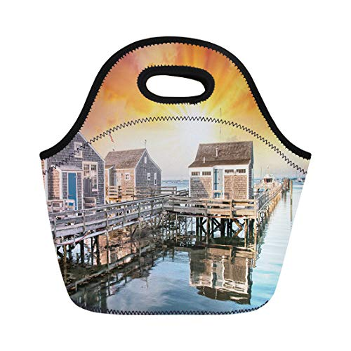 (Semtomn Neoprene Lunch Tote Bag Blue Nantucket Ma Beautiful Port View Wooden Homes at Reusable Cooler Bags Insulated Thermal Picnic Handbag for Travel,School,Outdoors,Work)