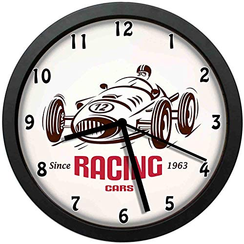 Retro Style Race Car Emblem Formula Automobile Icon Speed Competition, Chestnut Brown Pink White_4 Wall Clock Nice For Gift or Office Home Unique Decorative Clock Wall Decor 10in with Frame