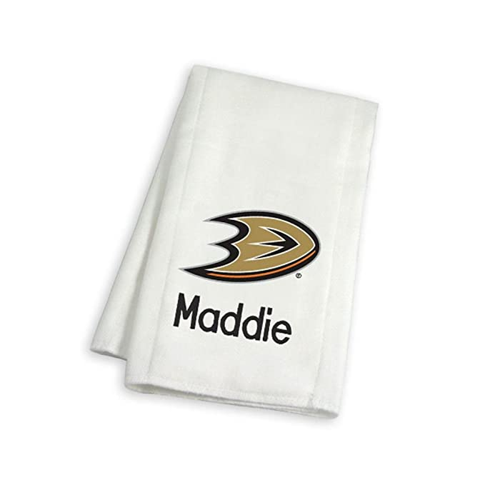 Designs by Chad and Jake Baby Personalized Anaheim Ducks Burp Cloth One Size White