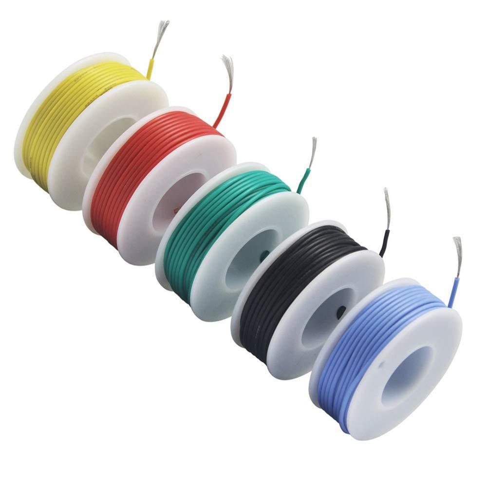 60 /° C 200 /° C 5 x 10m/ètres NorthPada 26 AWG 0,13mm/² Kit de Fil /électrique torons Fils de silicone Fil /étam/é C/âble Cable de cuivre 5 Couleur 300V 1,5A