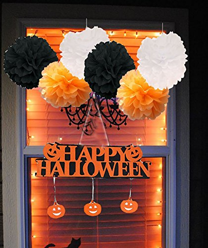 Furuix 10pcs HAPPY HALLOWEEN Window Decoration Pumpkin Pendant Door Decor Hanging Halloween Party Decoration - Halloween Banner White Black Orange Tissue Pom Pom Paper (Halloween Cat Decorations)