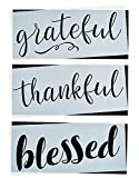 Grateful, Thankful, Blessed Stencil Set | Large Beautiful Calligraphy Stencils for Painting on Wood, DIY Farmhouse Decor, Create Rustic French Country Word Stenciled Signs
