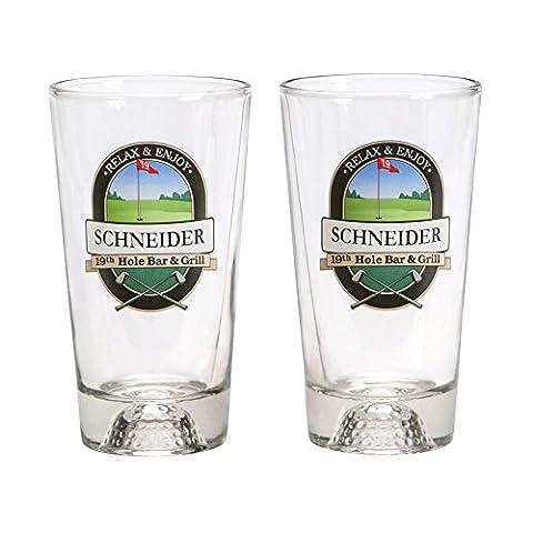 Personalized 19Th Hole Golf Ball Mixer Glasses - Set Of 2 - Custom 16 Oz Barware Cups - Monogram Pint Glass