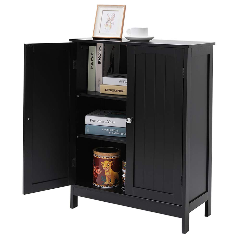 Office Furniture Wooden Storage Cabinet With 3 Doors 6 Heights Available Black Iwell Bathroom Floor Storage Cabinet With 2 Adjustable Shelf Free Standing Kitchen Cupboard Tools Home Improvement Bathroom Furniture Sets