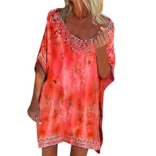 Respctful✿Women Dress Boho Print Casual Short Sleeve T Shirt Dresses Beach Swing Dress Summer Sky Blue ()