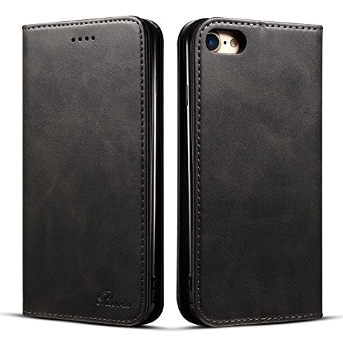 iPhone 7ケース 手帳型 iphone 8 ケース 手帳 Rssviss 耐衝撃 耐摩擦 高級PUレザー 財布型 アイフォン 8 ケース レザー カバー カード収納 マグネット スタンド機能 人気 おしゃれ [iPhone 7/iPhone 8 4.7 inch 適応] ブラック