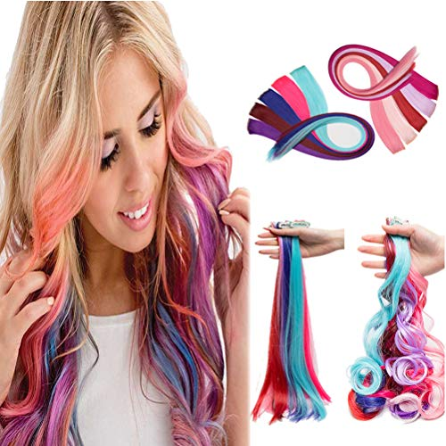 Multi-Color Clip in Streak Hairpieces Rainbow Highlighted Single Clip on Hair Extensions for Party 22