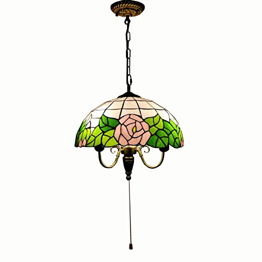 Tiffany Glass Dining Room Ceiling Pendant Light Pull Chain