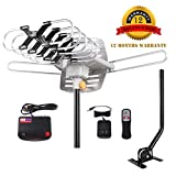 Antenna Outdoor, Antennas for TV - 150 Miles Range with Antenna Digital Motorized 360 Degree Rotation and Wireless Remote Control - Antenna Mount for Free (With mounting pole)