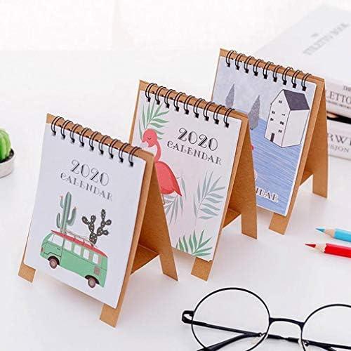 Tischkalender Kalendarien Cartoon Mini-Kalender 2020 Neujahr Einfach Kreativ-Büro-Schreibtisch Vertikale Papier Multifunktionsplan-Plan Notebook (Color : Forest)