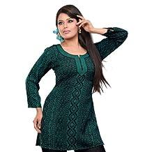 India Tunic Top Kurti Womens Printed Blouse Indian Clothing