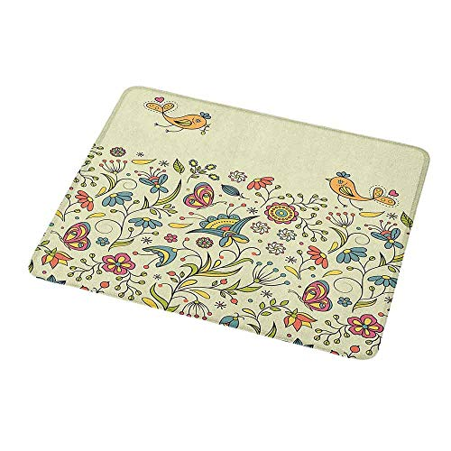 Gaming Mouse Pad Custom Flowers,Flourishing Spring Meadow Ornate Artistic Nature Romantic Birds Butterflies Leaves,Non-Slip Personalized Rectangle Mouse pad 9.8