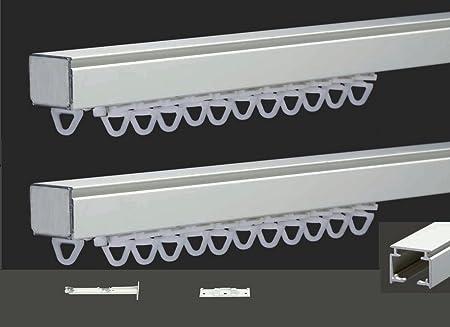 Rail Carre Double De Rideau Et Double Rideau Fixations Doubles Plafond Mur Finition Blanc Set Complet 145 290 435 580 Cm 145 Centimetres