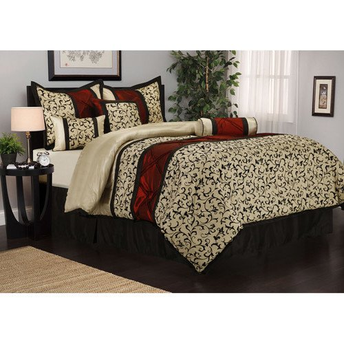 7 Piece Ivory Multi Floral Motif Pattern Comforter Full Set, For Luxury Moder Bedrooms, Stylish High-Class Scrollwork Filigree Flowers Design, French Country Style, Vibrant Bold Colors, For Unisex