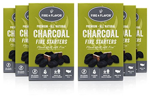 - Fire & Flavor Premium All Natural Charcoal Fire Starters, 24 Count, Pack of 6