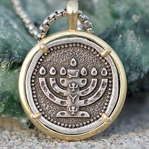 Menorah Necklace Judaica Candle Pendant Hebrew Hanukkah Israel Shekel Religious Jewelry