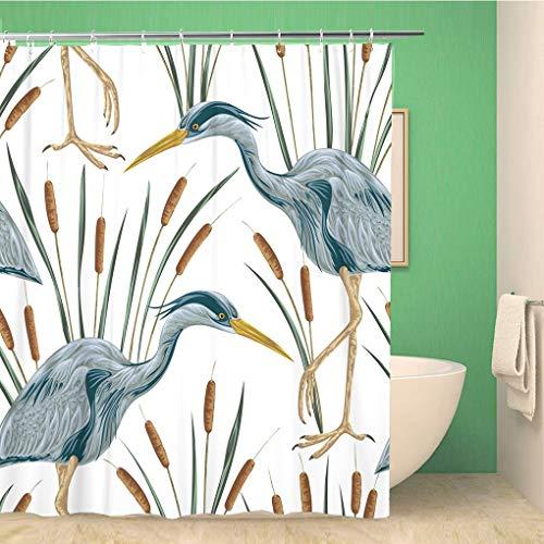 Awowee Bathroom Shower Curtain Heron Bird and Bulrush Swamp Flora Fauna Vintage 72x78 inches Waterproof Bath Curtain Set with Hooks
