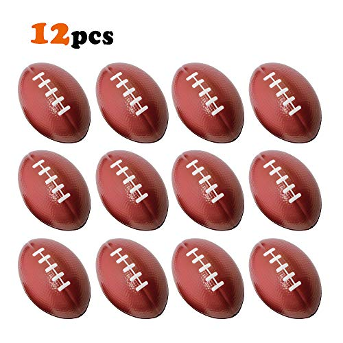 VCOSTORE Football Stress Ball 2.5 Inch, Sport Themed Party Favor Decent Ball Toys for Kids, Soft Foam Squeeze Balls for Anxirty Relief, Goodie Stuffers Prize Bulk(12 Pack) -