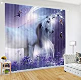 LB Teen Kids Unicorn Decor Room Darkening Blackout Curtains,Unicorns and Angels 3D Window Curtains Drapes for Living Room Bedroom 2 Panels Set,28 x 65 inch Length For Sale