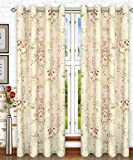 Ellis Curtain Chatsworth Traditional Floral Design (Lined Grommet Top Panel, 50 x 63″, Red)