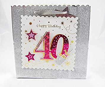 Happy 40th Birthday Gift Bag Silver Glitter 3D Pink Luxury Milestone Age Female Amazoncouk Office Products