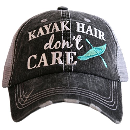 Katydid Kayak Hair Don't Care Women's Trucker Hat-gray/mint (Kayak Hat)