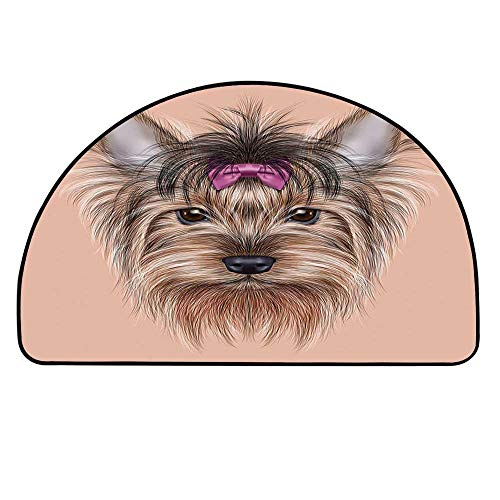 - YOLIYANA Yorkie Doormat,Realistic Computer Drawn Image of Yorkshire Terrier with Cute Ribbon Animal Decorative Entryway Mat,37.4
