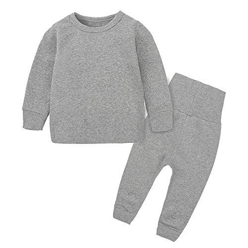 Kids Boys Girls Cotton Long Sleeves Thermal Underwear Pajama Set Toddlers Sleepwear Top Pant Set (3 Months-8 Years)